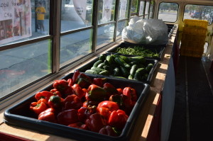 Vegetables are ready for the taking inside the Feed Iowa First bus on Friday, Sept. 4, 2015. (photo/Cindy Hadish)