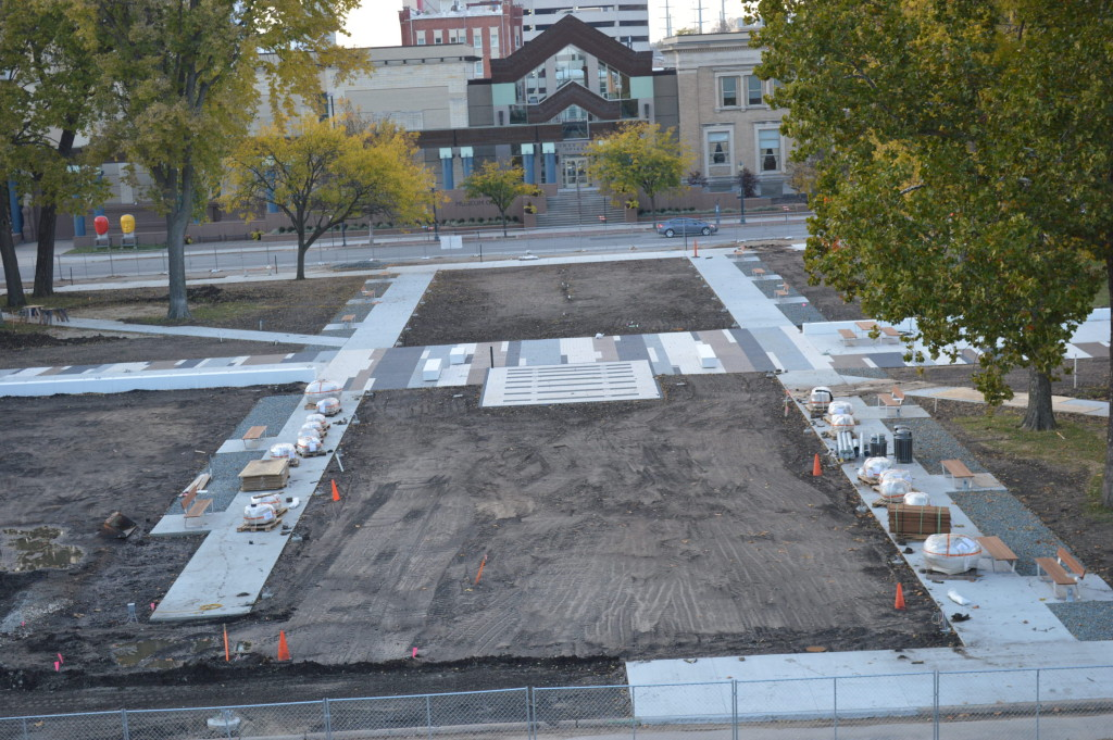 A view of Greene Square Park in downtown Cedar Rapids shows every tree in the center of the park has been removed. (photo/Cindy Hadish)