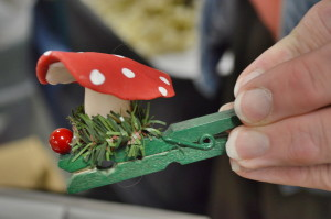 A mushroom ornament is among the collection used for the Christmas tree at the National Czech and Slovak Museum and Library in Cedar Rapids. (photo/Cindy Hadish)