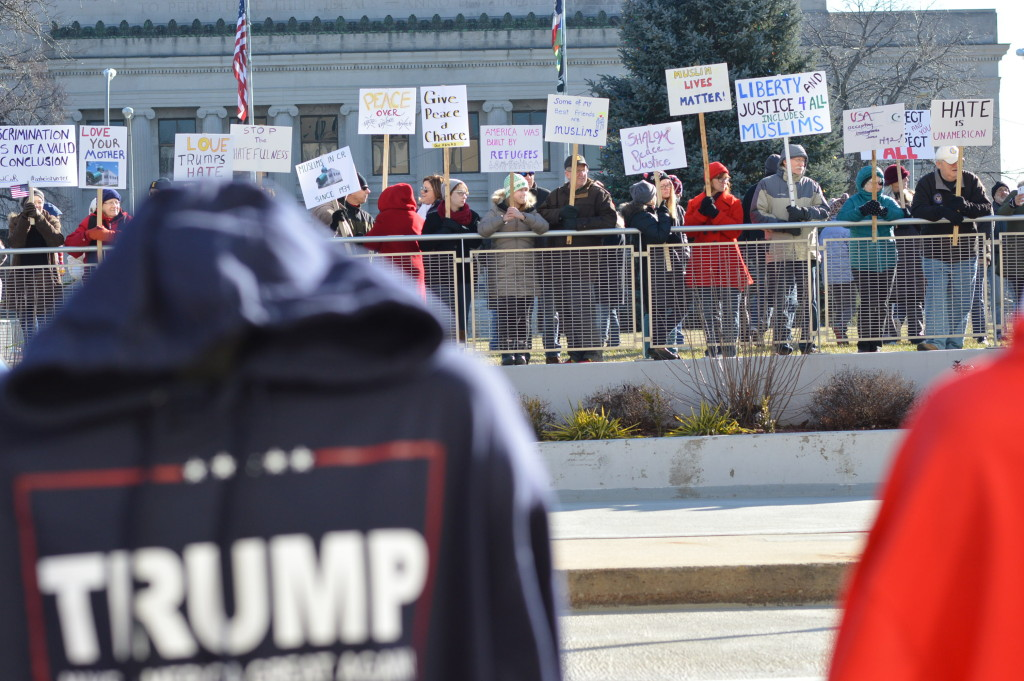 A crowd gathers across from Veterans Memorial Coliseum on Dec. 19, 2015, across from the Donald Trump rally to promote a message of tolerance. (photo/Cindy Hadish)