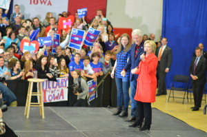 Hillary Clinton was joined on the campaign trail at Cedar Rapids Washington High School by husband Bill and daughter Chelsea on Saturday, Jan. 30, 2016. (photo/Cindy Hadish)