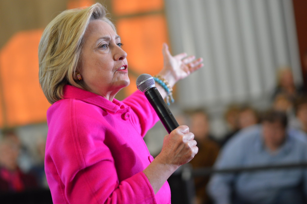 Hillary Clinton speaks during a rally Jan. 4, 2016, at NewBo City Market in Cedar Rapids, Iowa. (photo/Cindy Hadish)