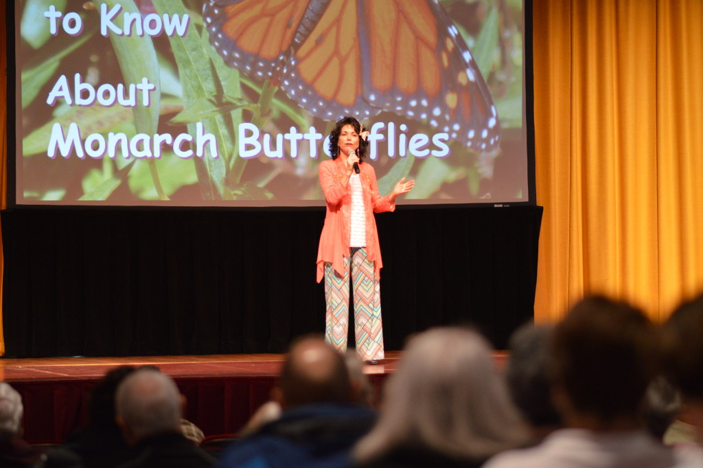 About 500 gardening enthusiasts gathered to hear author Susie Vanderlip discuss her work with monarch butterflies during the keynote speech at the 2016 Winter Gardening Fair at Coe College. (photo/Cindy Hadish)