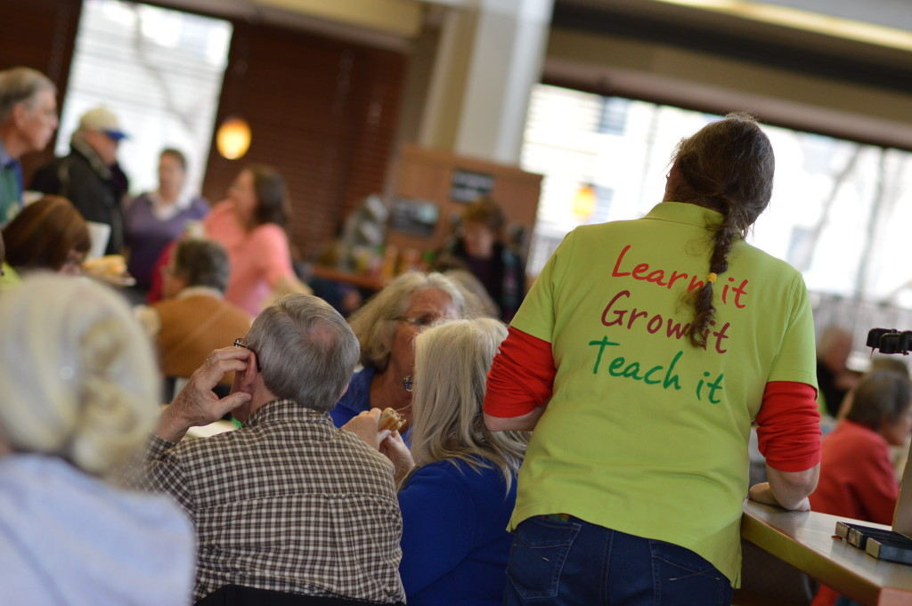 Gardeners gather in the Coe College cafeteria for lunch during the 2016 Winter Gardening Fair in Cedar Rapids. (photo/Cindy Hadish)