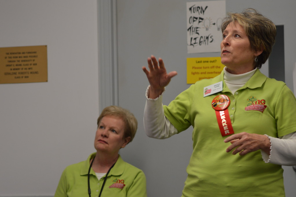 Linn County Master Gardener, Brenda Garbe (right) discusses edible fruiting shrubs during a workshop at the Winter Gardening Fair. (photo/Cindy Hadish)