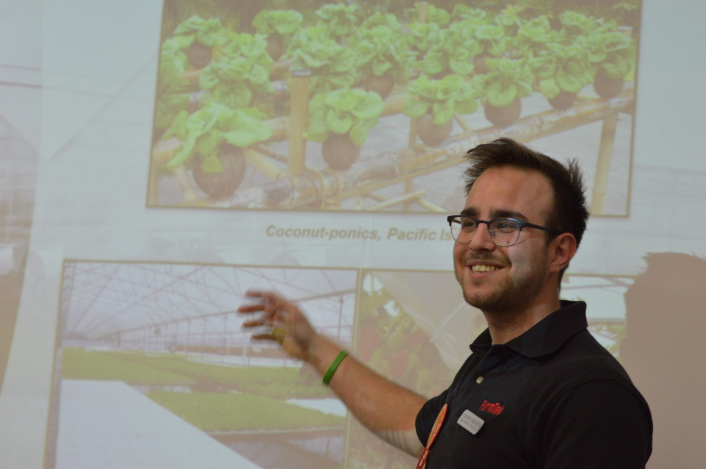 Jeremy Shechter explains hydroponics during the Winter Gardening Fair on Saturday, March 5, 2016. (photo/Cindy Hadish)
