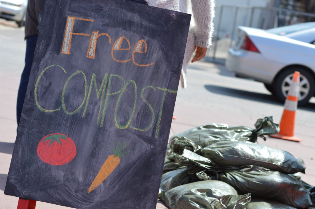Free compost is given away on Saturday, April 23, 2016, during EcoFest in Cedar Rapids. (photo/Cindy Hadish)