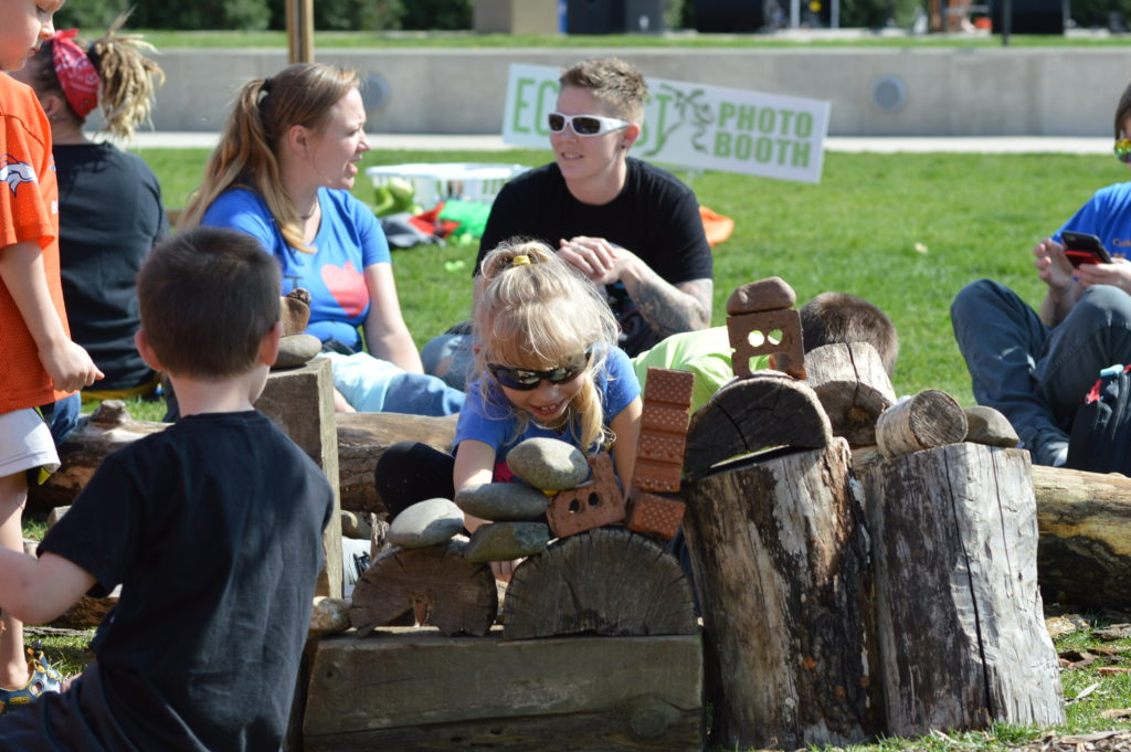 Children play in the area set up by the Indian Creek Nature Center at EcoFest 2016. (photo/Cindy Hadish)