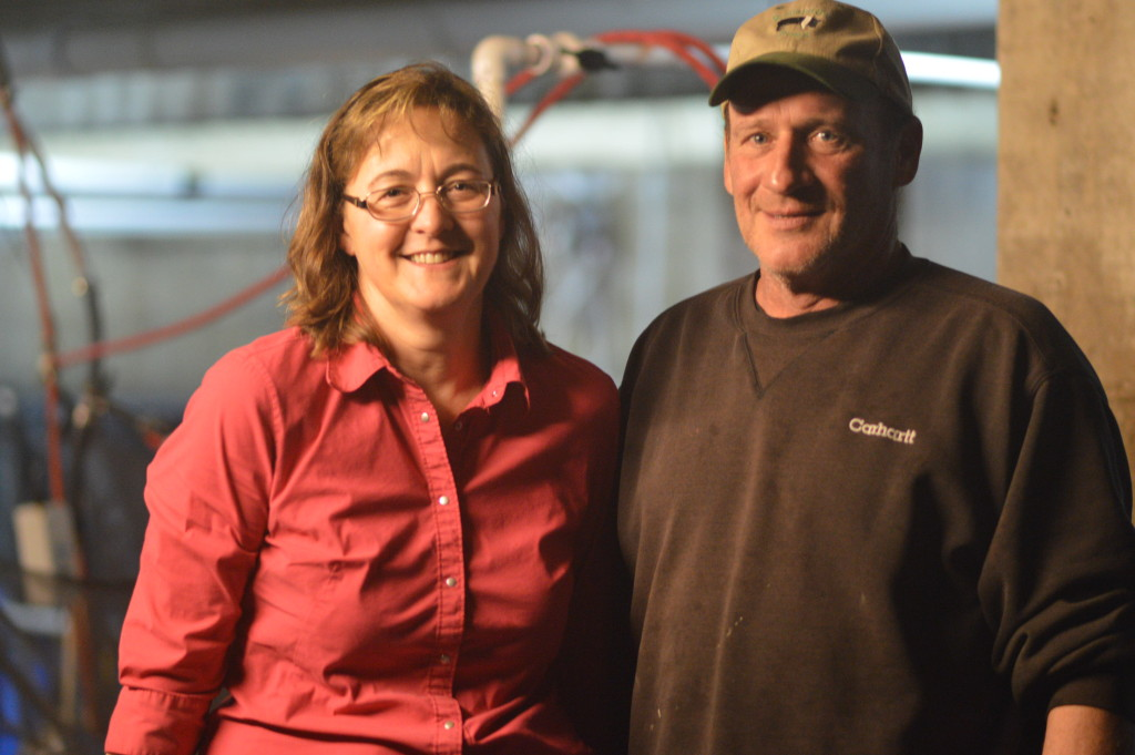Lea and Denny Rehberg are shown inside their shrimp operation in a converted barn in rural Walker, Iowa. (photo/Cindy Hadish)