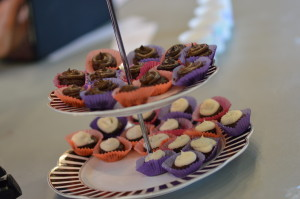 Brownie bites with avocado or coconut frosting were among the samples offered at the Rawlicious preview tasting on Saturday, April 2, 2016. (photo/Cindy Hadish)