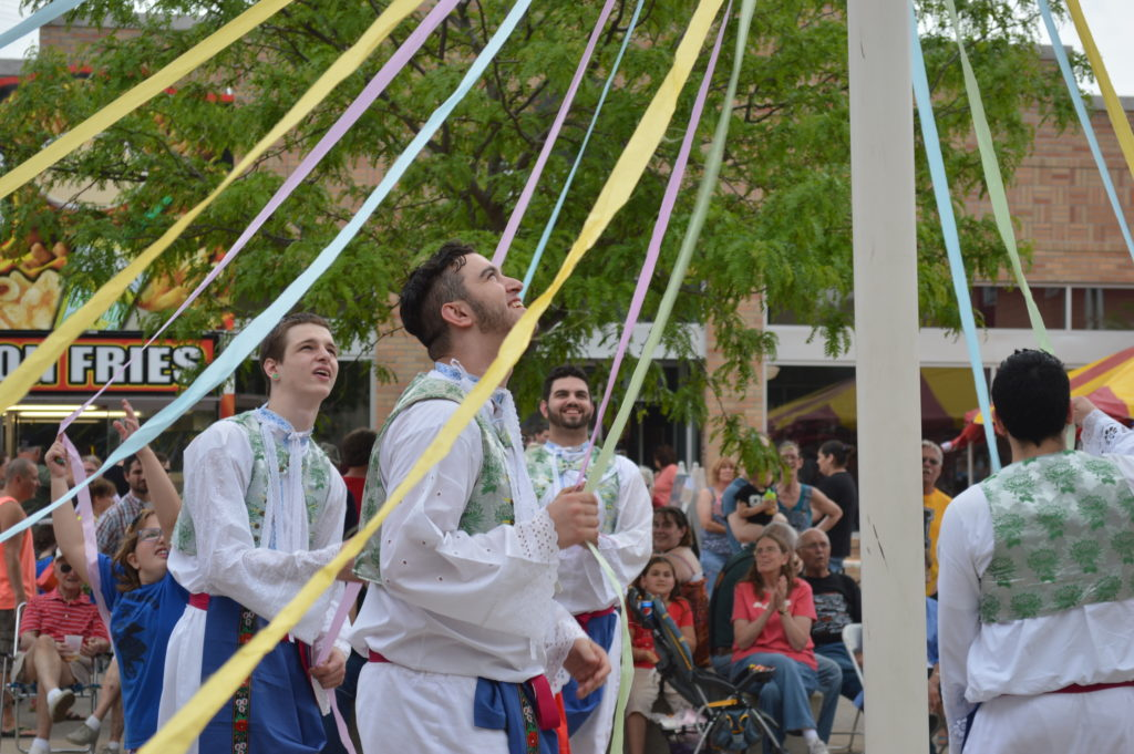 Dancers perform a traditional Maypole dance during Houby Days 2015 in Czech Village. (photo/Cindy Hadish)