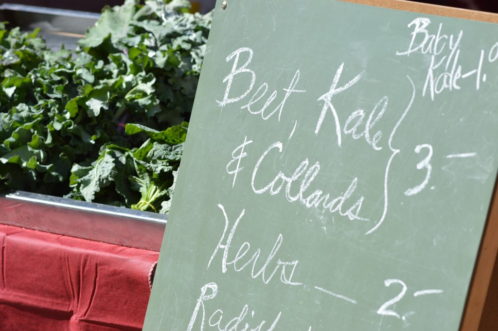 Kale was among the early greens sold by Skyline Farm of Swisher at the opening day of the 2016 Downtown Farmers Market season. (photo/Cindy Hadish)