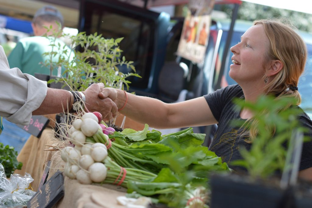 Anne Bohl of Low Oaks Farm, near Decorah, Iowa, greets a customer at the Downtown Farmers Market in Cedar Rapids on Saturday, June 4, 2016. (photo/Cindy Hadish)