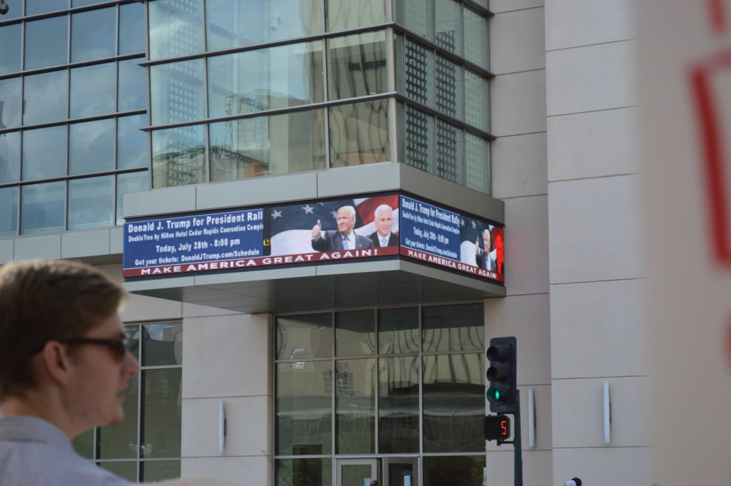 A sign on the DoubleTree by Hilton advertised the Donald Trump rally. (photo/Cindy Hadish)