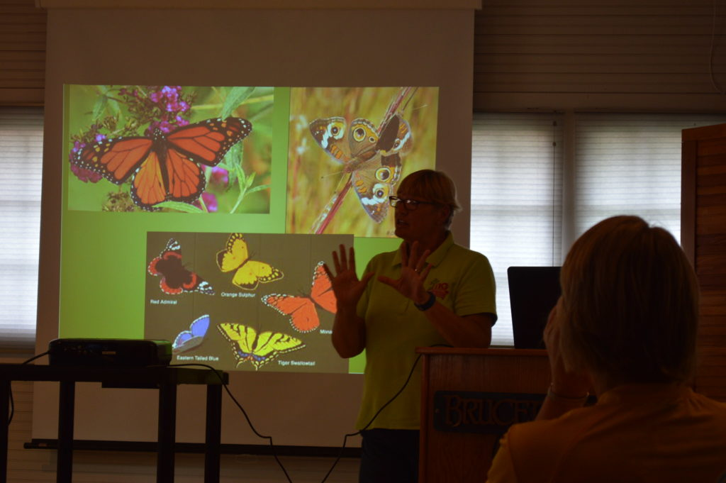 Linn County Master Gardener, Becki Lynch, discusses pollinators during a presentation at Brucemore. (photo/Cindy Hadish)