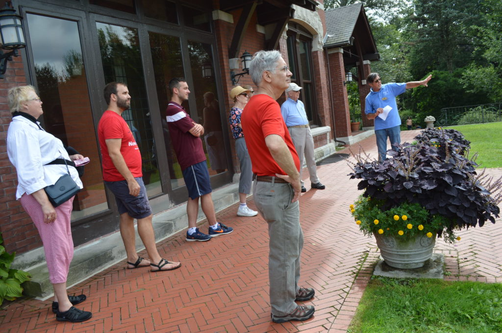 Head gardener, David Morton, leads a tour of the Brucemore grounds on Saturday. Aug. 27, 2016. (photo/Cindy Hadish)