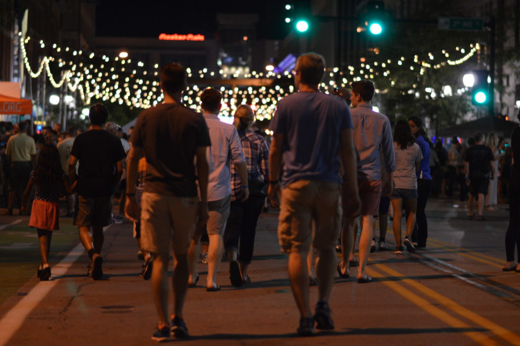 A crowd makes its way through downtown Cedar Rapids during the second Market After Dark. (photo/Cindy Hadish)