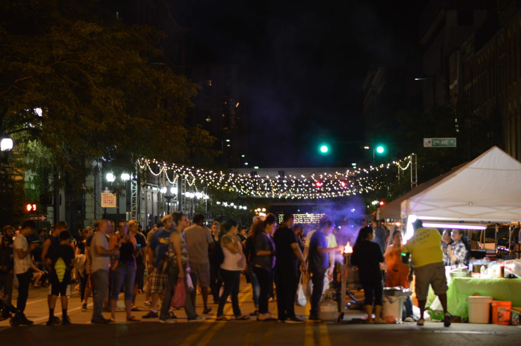 A line forms for Culata International Cuisine during Market After Dark. (photo/Cindy Hadish)