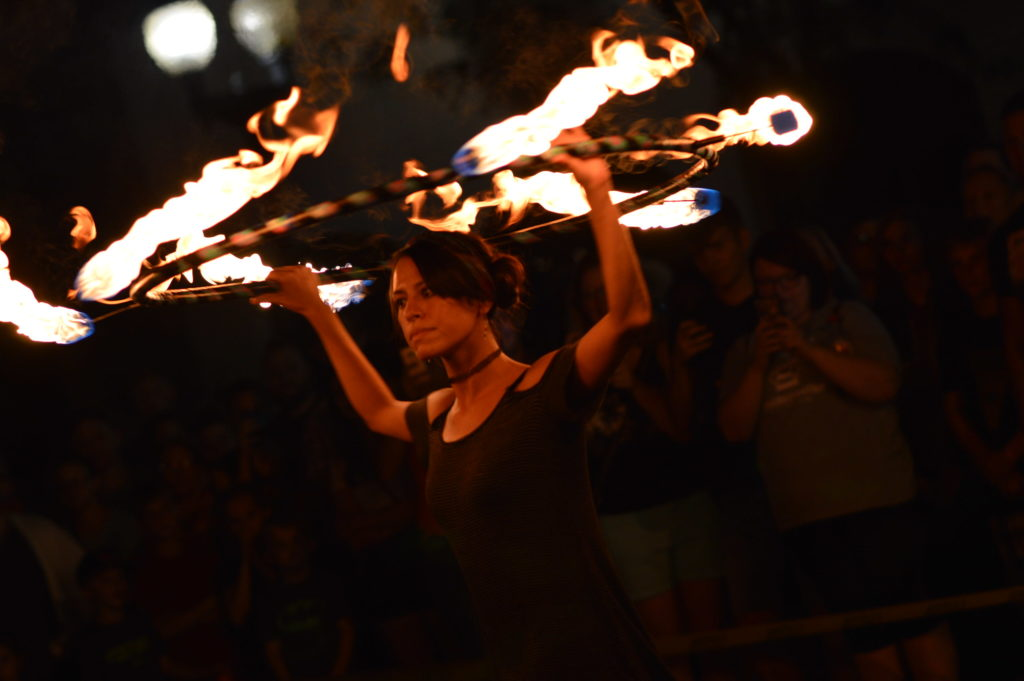 Market After Dark, in downtown Cedar Rapids, featured a performance by Radiance Fire on Aug. 27, 2016. (photo/Cindy Hadish)