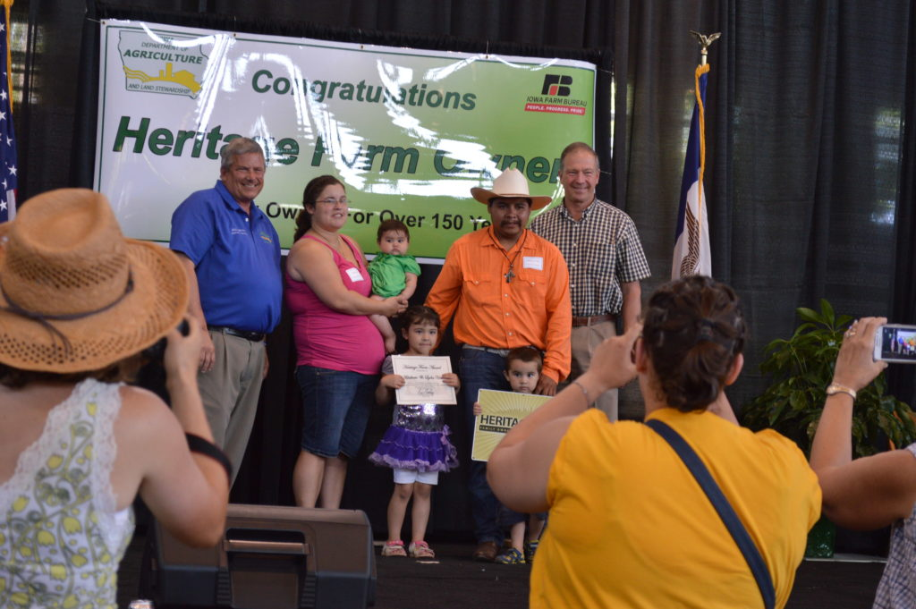 Photos were taken of each family that received a Century or Heritage Farm award at the Iowa State Fair. (photo/Cindy Hadish)