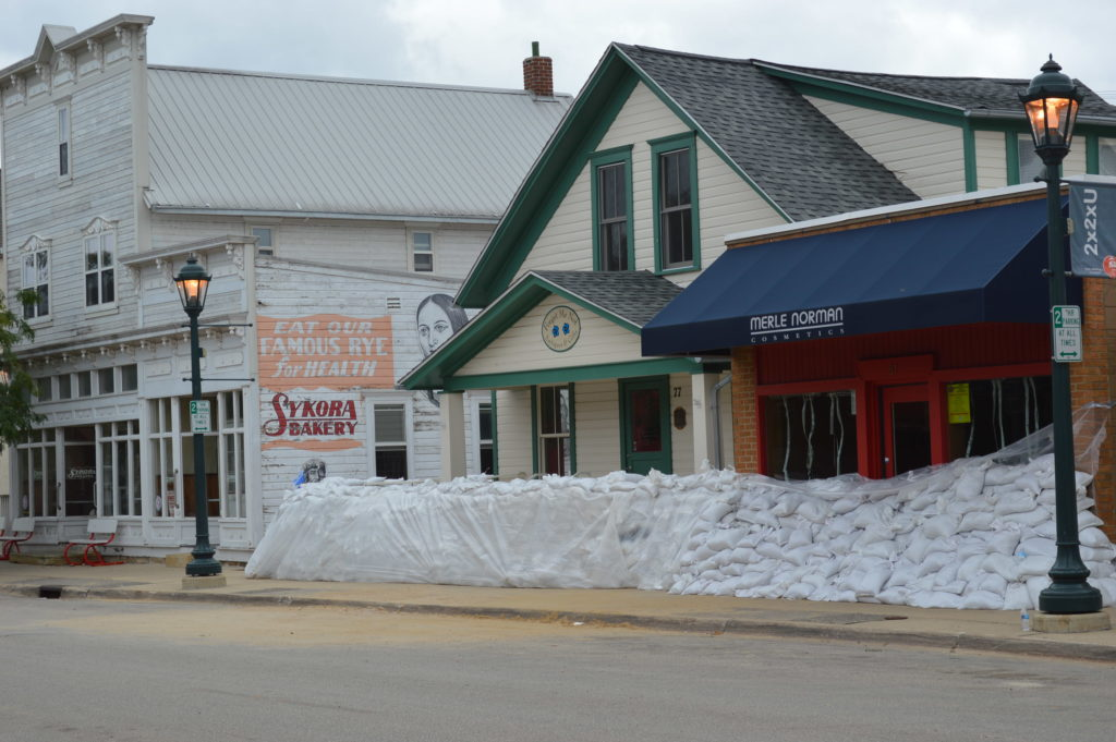 Sandbags surround buildings in Czech Village on Sept. 25, 2016, in Cedar Rapids, Iowa. (photo/Cindy Hadish)