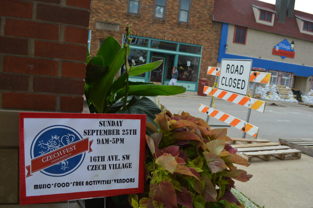 A sign advertises Czech Fest, a fall festival that had been scheduled for Sept. 25 in Czech Village, but was canceled because of the impending flood. (photo/Cindy Hadish)