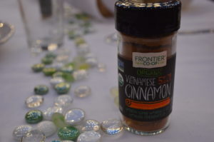 Guests at the farm-to-table dinner received a gift of cinnamon from sponsor Frontier Co-op. (photo/Cindy Hadish)