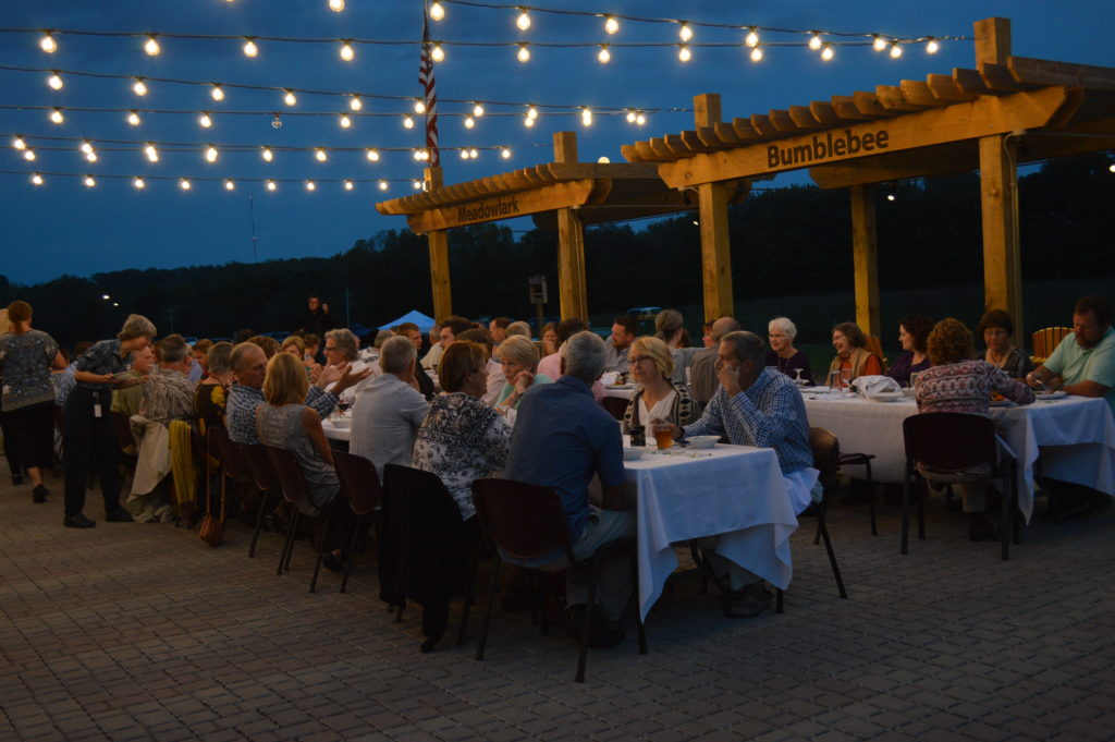 Guests enjoyed a farm-to-table dinner served by Salt Fork Kitchen of Solon on Thursday, Sept. 15, 2016, during the grand opening of the Indian Creek Nature Center in Cedar Rapids, Iowa. (photo/Cindy Hadish)