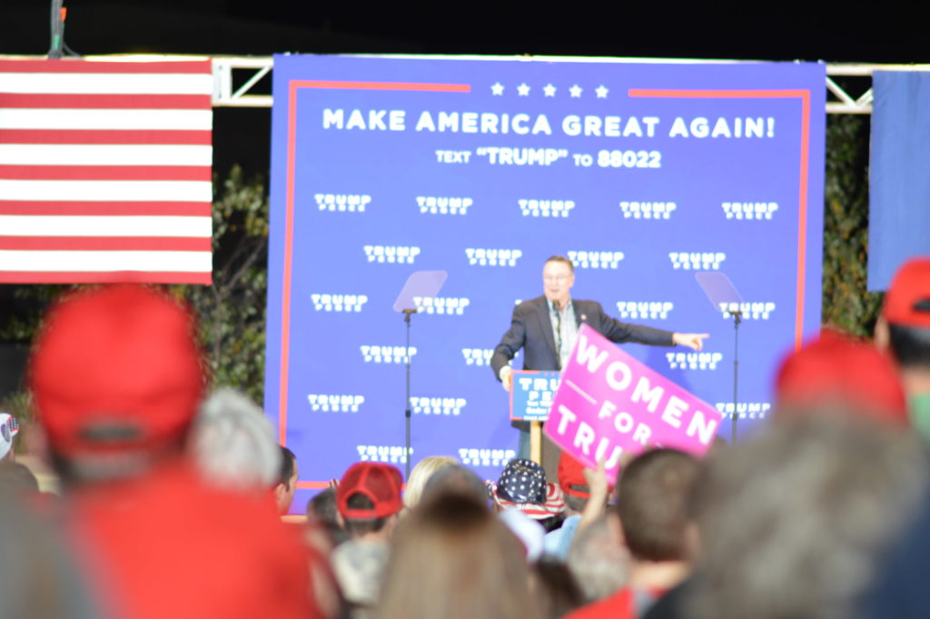 Congressman Rod Blum speaks during the Donald Trump rally in Cedar Rapids, Iowa. (photo/Cindy Hadish)