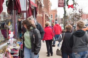 Shoppers celebrate Small Business Saturday in Mount Vernon, Iowa. (photo courtesy Joe Jennison)